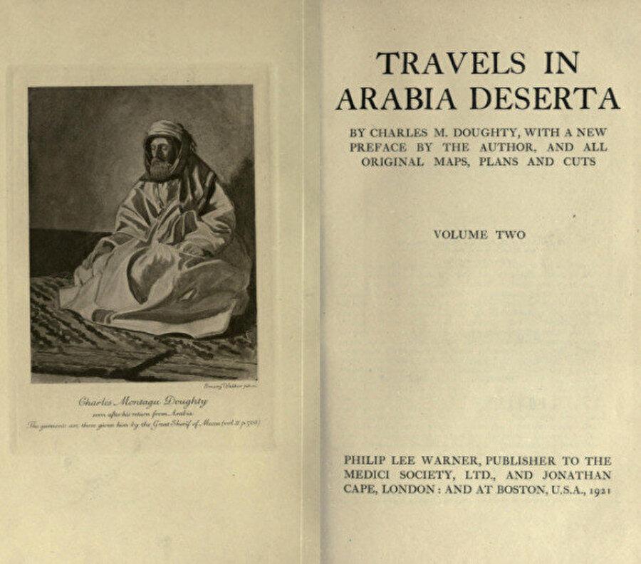 Charles Montagu Doughty'nin Filistin ve Kuzey Arabistan seyahati sonrası 1888 yılında yazdığı Travels in Arabia Deserta isimli eserinin kapağı. Bu kitap Gertrude Bell'in tesiri altına girdiği eserlerden biri olur.