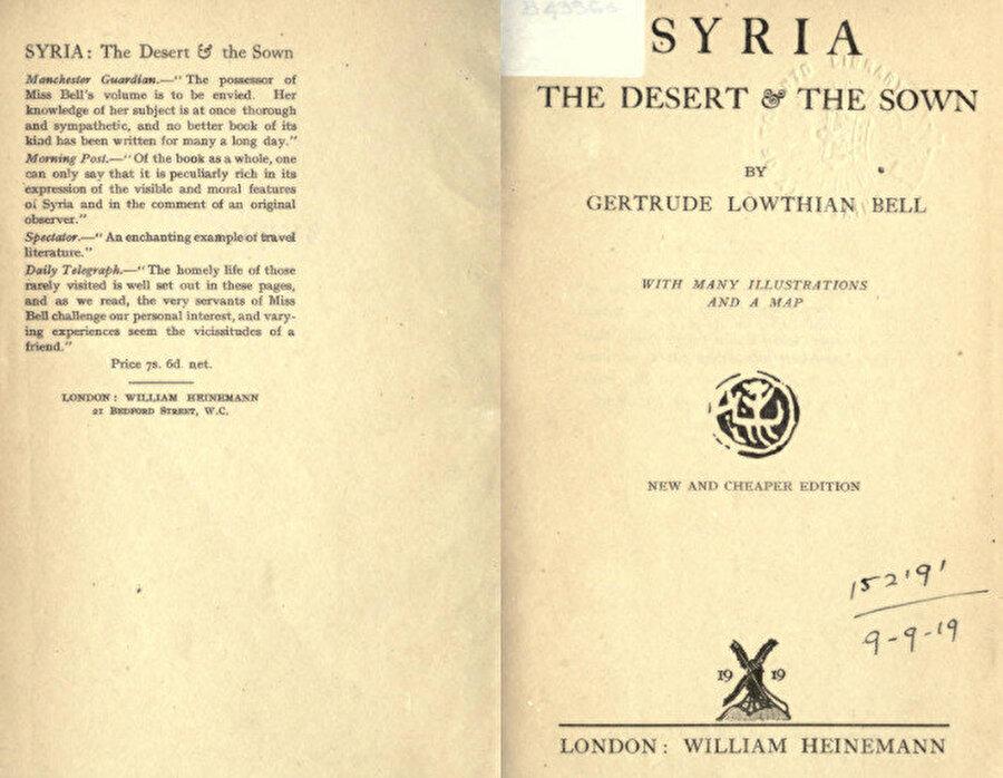 Gertrude Bell'in Desert and Sown isimli eserinden örnek sayfalar.