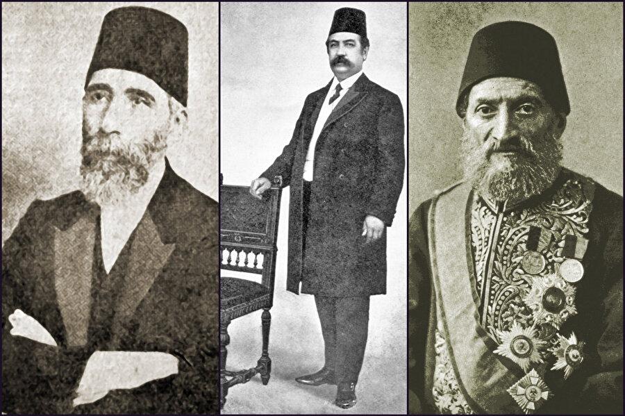 Gertrude Bell'in tanışıklığı olan, Osmanlı'da sadrazamlık mevkiinde bulunmuş üç isim. Sağdan sola: Kâmil Paşa, Ferid Paşa, Hüseyin Hilmi Paşa.