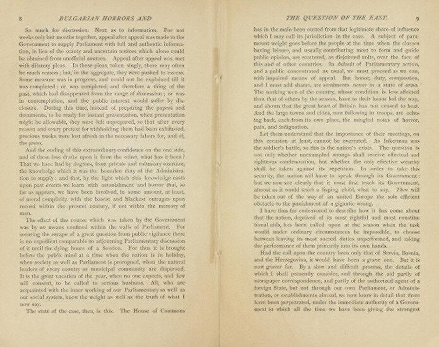 """Bizzat Gladstone tarafından kaleme alınan """"Bulgarian Horrors and the Question of the East"""" başlıklı kitaptan örnek sayfalar. Bu ince kitap içerisinde Türklere karşı ağır ifadeler barındırır."""