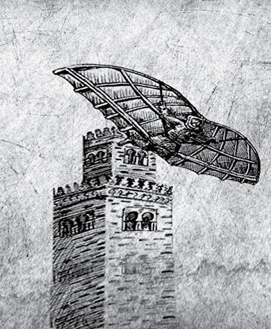 Tarihî kaynaklar Endülüslü Firnas'ın da uzun çalışmalar sonunda yeni bir keşifte bulunup bir cihaz yaptığını, üzerine kumaş geçirip kanat yerine büyük kuş kanatları taktığını ve bu âleti çalıştırarak havalanıp uçtuğunu kaydeder.