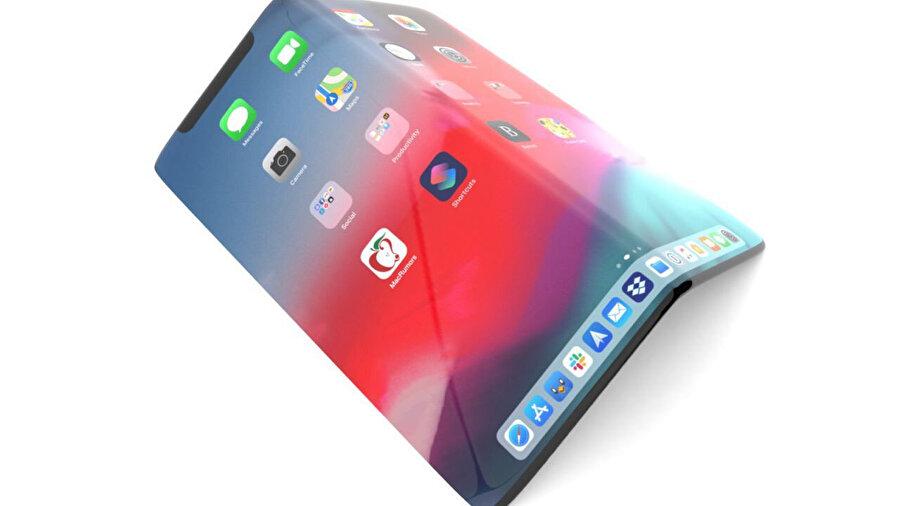 Katlanabilir iPhone'a dair herhangi bir görüntü yok. Bu yalnızca tasarımcıların üzerinde çalıştığı bir görsel.