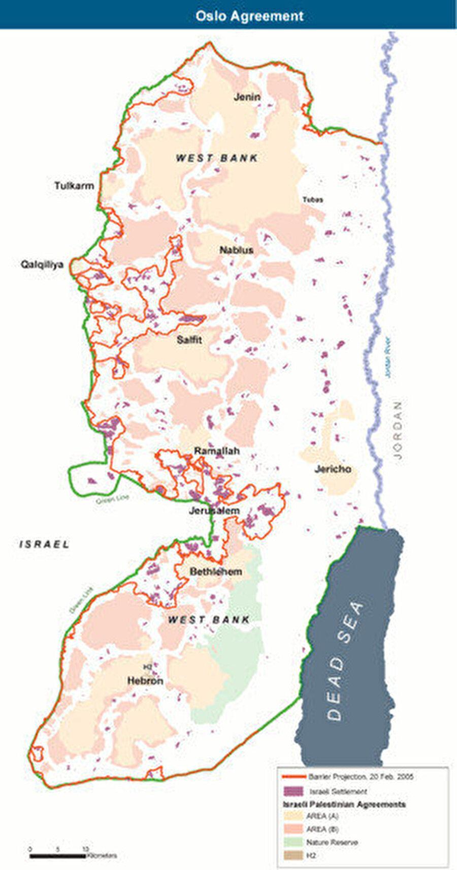 Anlaşma gereğince Batı Şeria ve Gazze Şeridi'nde Filistinliler için özerk yönetim kuruldu.