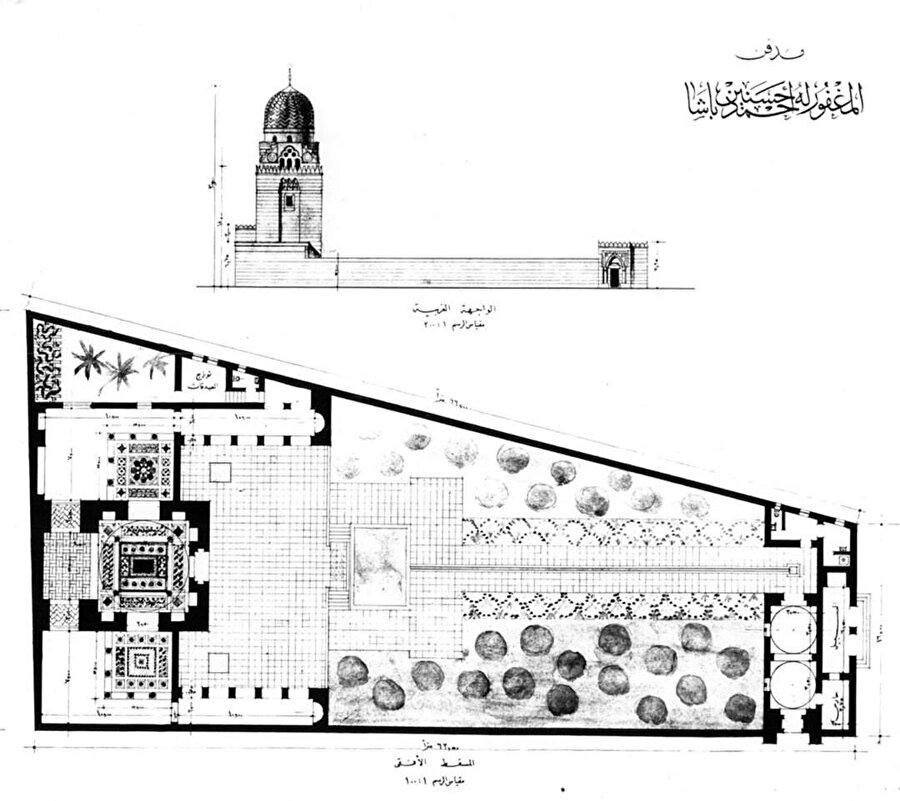 Hassanein Bey Türbesi plan ve görünüş çizimleri. Türbe tasarımında; Fathy'nin avlu ve kubbe gibi kullandığı mimari unsurlar gelenekselciliğini yansıtıyor.