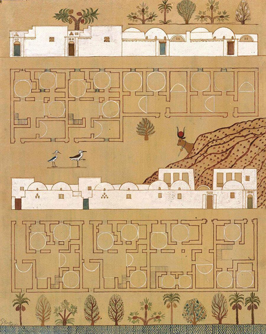 Yeni Gourna köyünün farklı bölümlerinden görünüş ve plan çizimleri. Avluların çokluğu, odaların benzer tipolojideki varyasyonlu plan şekilleri okunabiliyor.