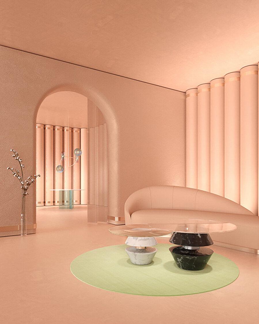 Zalaba Design için Lulu Koleksiyonu, 2019. Alan, her bir dikey elemanın oyulmasıyla oluşturulmuş dalgalı şekilde tasarlanmış. Böylece tek renkli düzlemleri sınırlandırarak ofset bronz vurgularla belirtilenden daha fazla mimari öne oluşturulmuş.