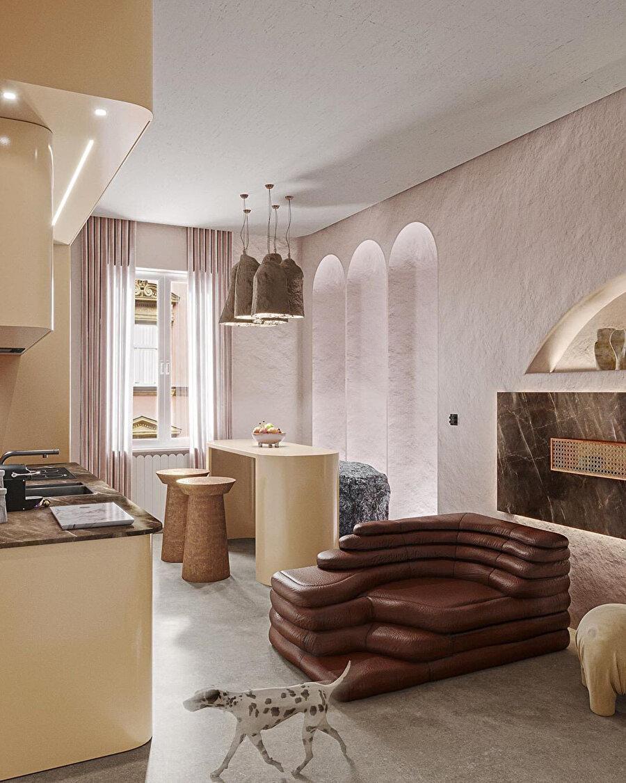 Evcil hayvanlarla yaşayan çift için Milano'nun kalbinde 80 metrekarelik dairenin yenileme projesi.