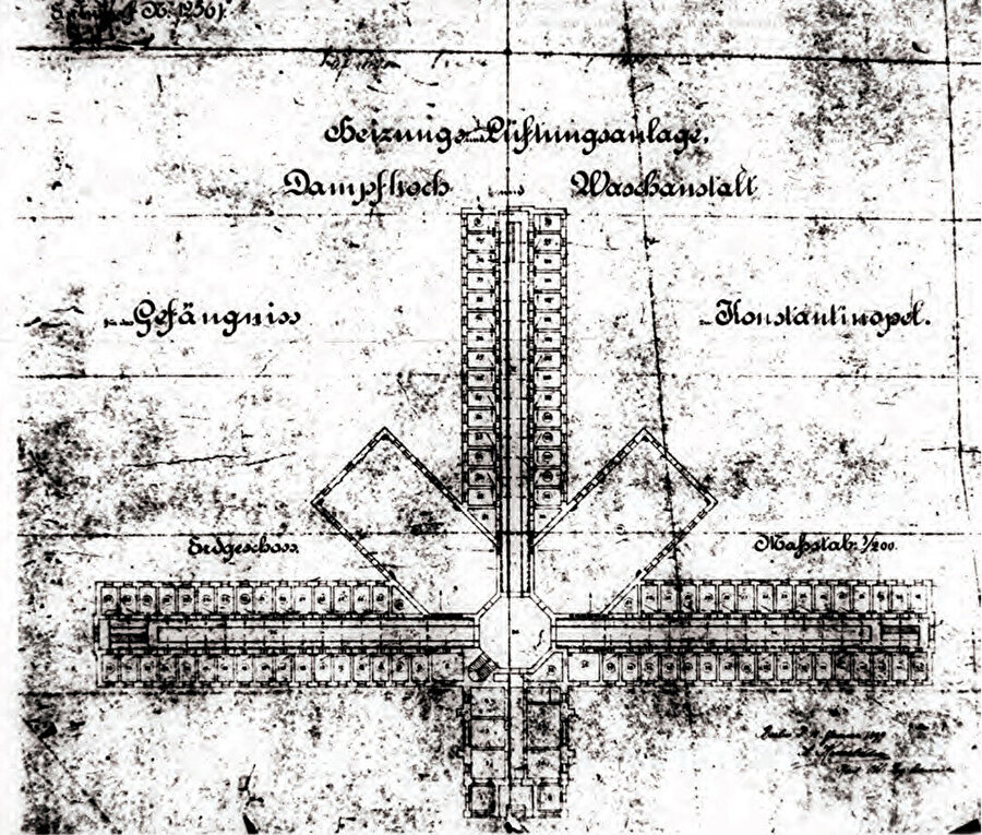 1899 tarihli hapishane tasarımı, Avrupa'daki örneklerde olduğu gibi merkezde birleşen hücre kollu plana sahip. Merkez kısmı kubbeyle örtülmüş.