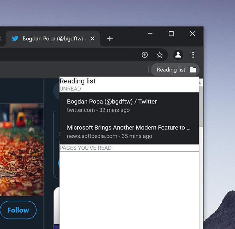Google Chrome'un sonradan oku özelliği sağ üstteki klasör yapısıyla erişip kayıtlı sayfalara göz gezdirebilirsiniz.