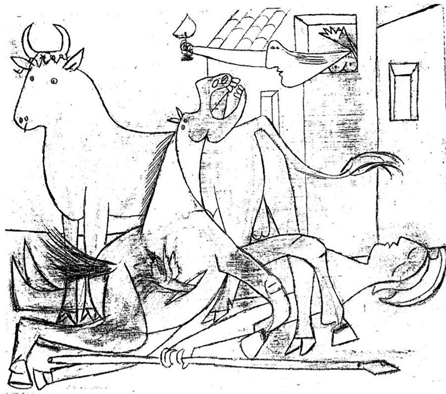 Picasso'nun 1 Mayıs tarihli eskizi.