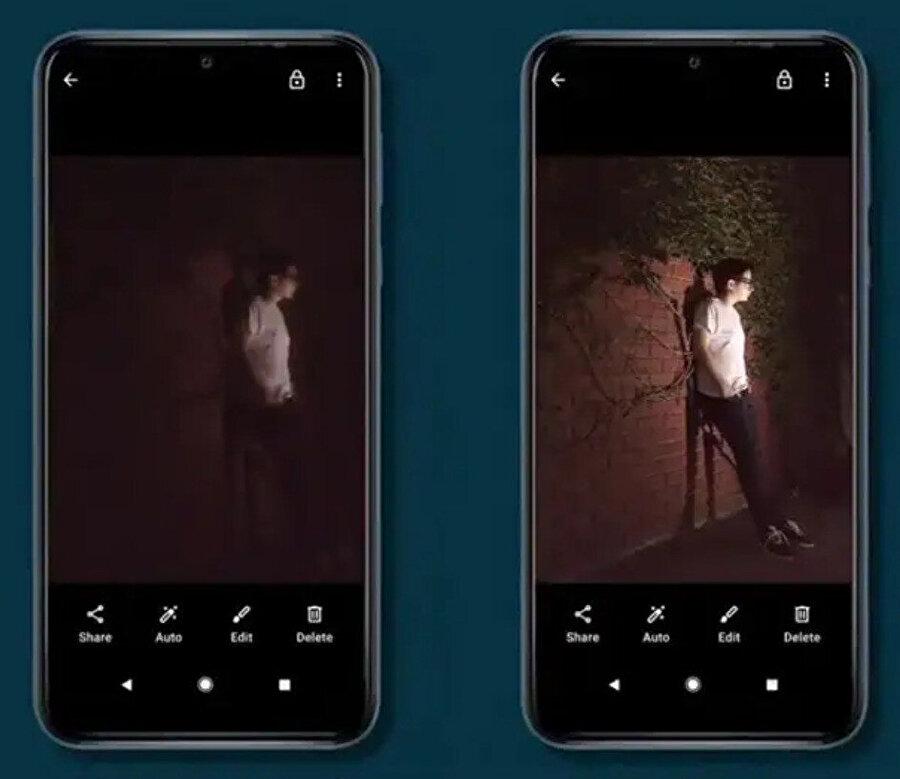 Camera Go'daki gece modu özelliğiyle birlikte fotoğraf arasındaki değişik bu şekilde.