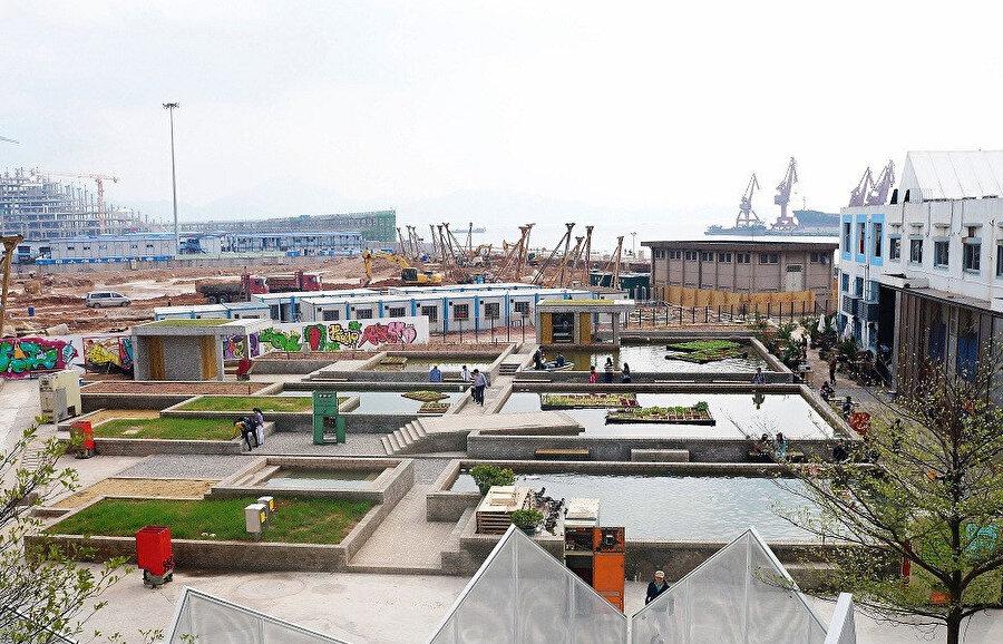 Çin'in Shekhou kentindeki Dacheng Flour Mills tesisinin post endüstriyel mimarisi; bitki dolu kutulardan oluşan yüzen bir ekosisteme dönüştürülmüş.