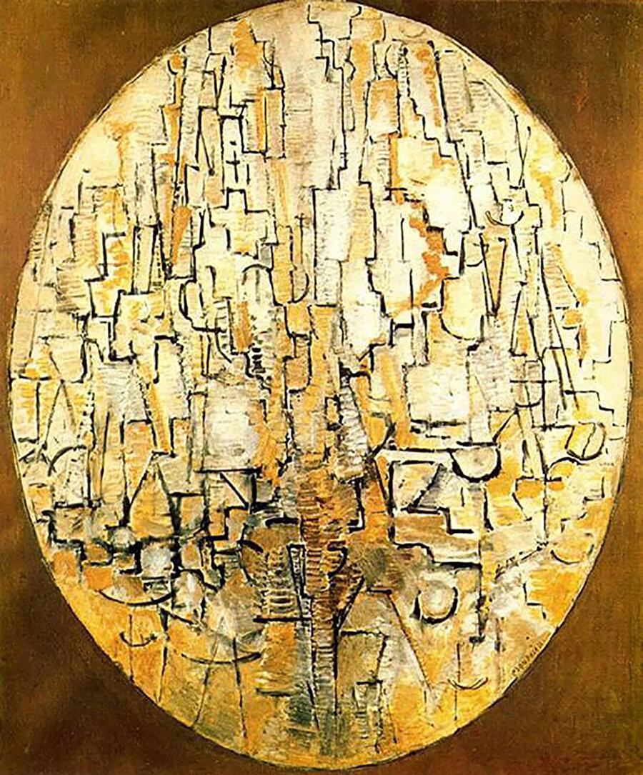 """""""Oval Composition"""" (1913) eserinde ağaçları tasvir eden Mondrian, De Stijl akımından öncesinde neredeyse sadece siyah çizgileri kullanır durumda."""