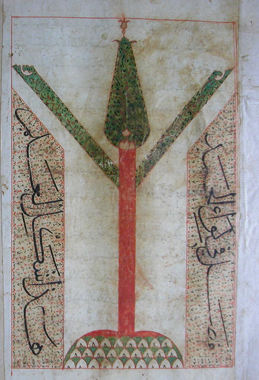 - Edirne Selimiye Kütüphanesi 1032 numaralı nüshada bulunan livâü'l-hamd çizimi