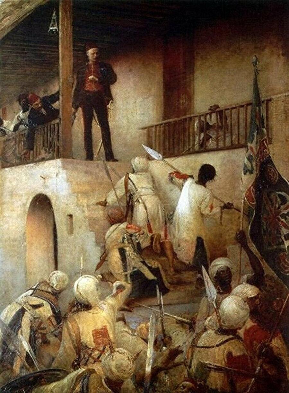 """General Gordon sarayı basan """"Ensar"""" üyeleri tarafından öldürülmüştür."""