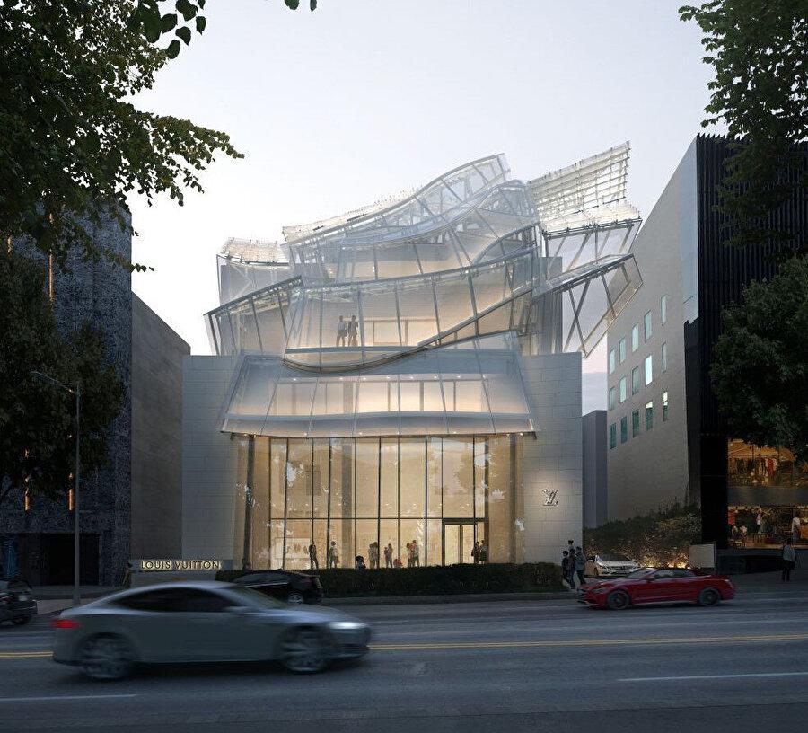 Cephenin hareketleri, Gehry'nin yerel dansta gözlemlediği beyaz, uçuş uçuş kıyafetlerin hareketlerini yansıtıyor.