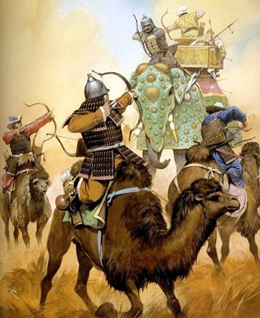 Dağlık bölgeye alışık olan Türk develeri, Moğollar tarafından savaşlarda da kullanılmıştı.