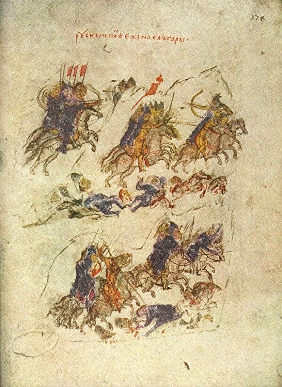 Peçenek ve Slavların ittifak yaparak Bulgar'a girişini tasvir eden, Konstantin Manasse'nin yazıtlarında bulunan bir resim.