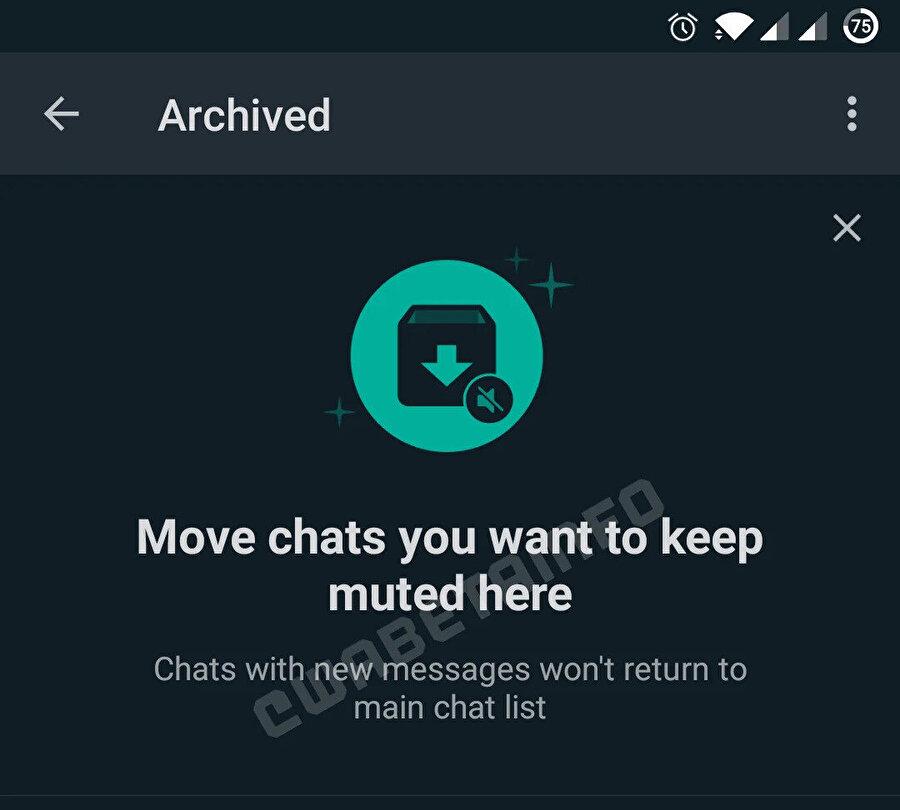 WhatsApp Tatil Modu, arşive alınan sohbetlere gelen mesajların ana ekranda görünmesini engelliyor.