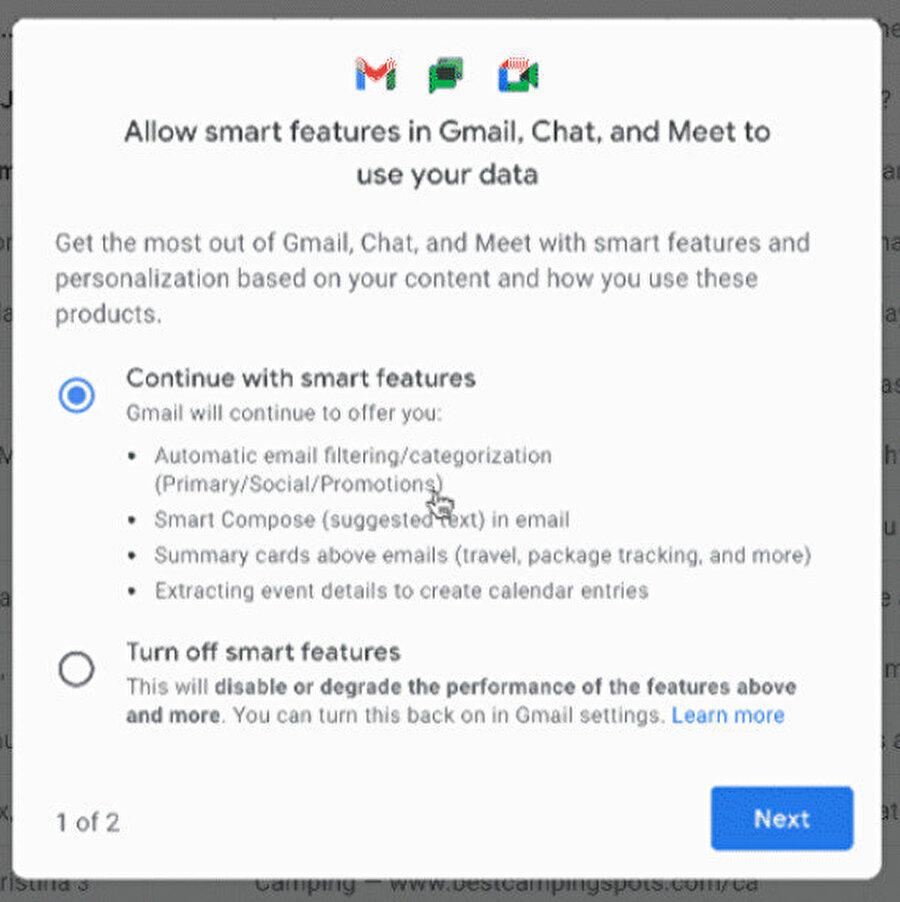 İsteyen kullanıcılar bu akıllı özellikleri kapattıklarında da Gmail'i kullanmaya devam edebilecekler.