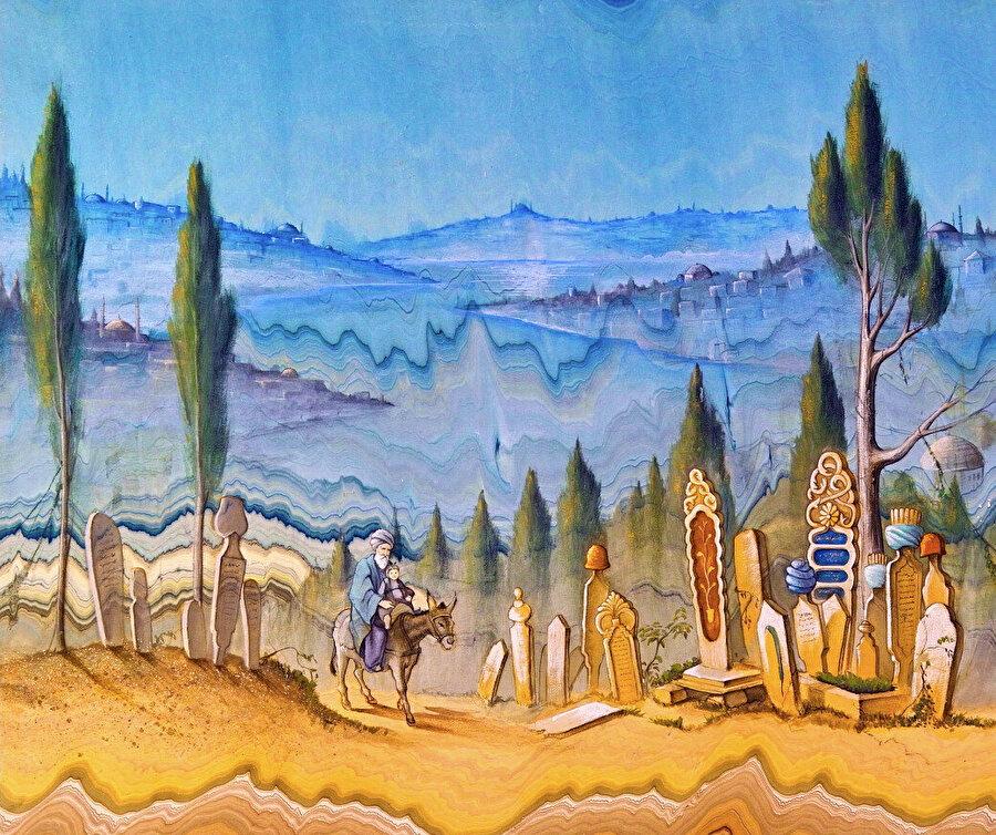 Eski Zamanlar, barut ebrusu üzerine suluboya, 2007.