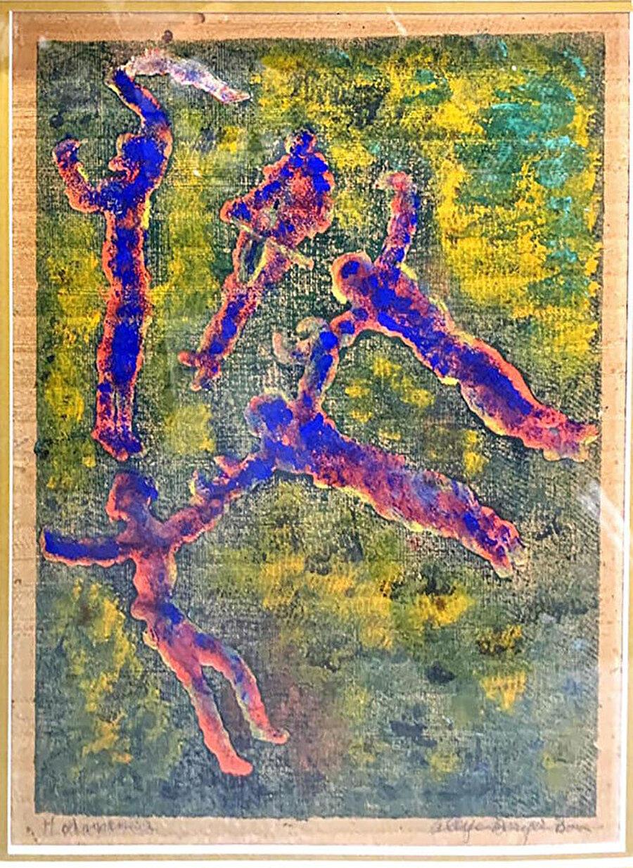 Halaycılar, gravür üzerine renklendirme, 37 x 27 cm.