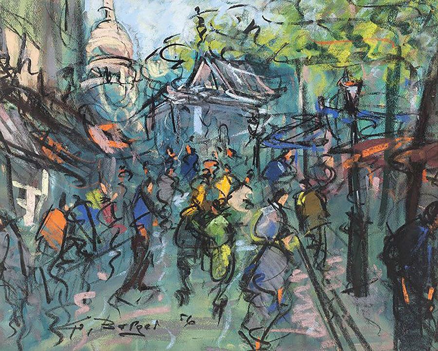 People on the street, pastel boyama, 1956, 52 x 42 cm.
