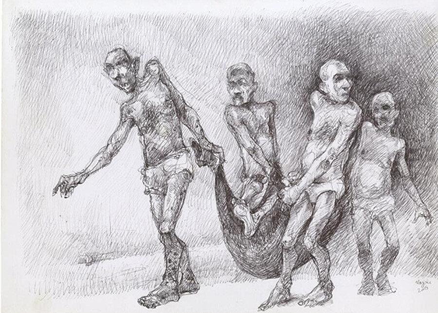 İşkence altında öldükten sonra diğer tutuklular tarafında taşınan mahkumlar.