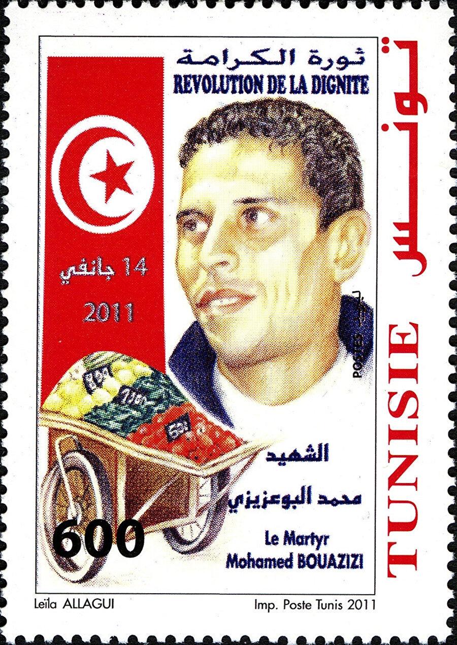 Tunus hükümeti tarafından basılan Muhammed Bûazîzî hatıra pulu.