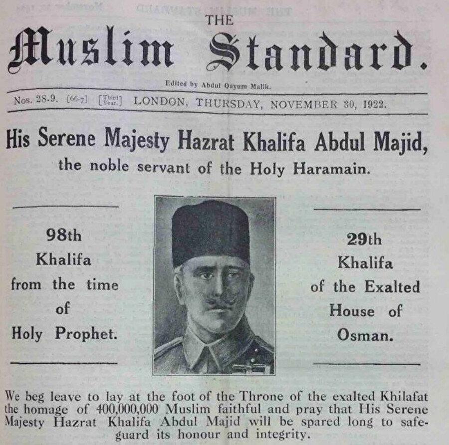 """Londra'da yayımlanan The Muslim Standard adlı gazete, Abdulmecid Efendi'nin """"halife"""" seçilmesini böyle haberleştirmişti."""