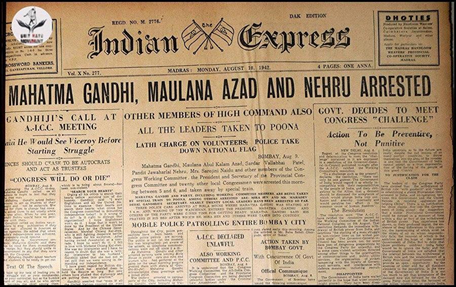 Gandhi, Nehru ve Âzâd'ın İngilizler tarafından tutuklanmasına dair bir haber.