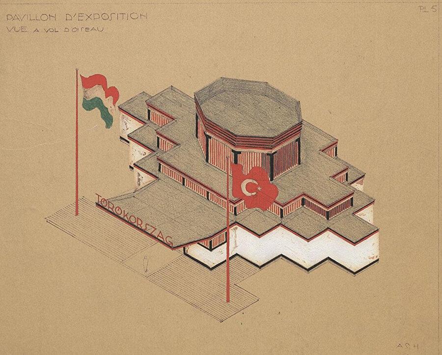 1931 Uluslararası Budapeşte Fuarı'nda Türkiye Pavyonu aksonometrik çizimi.