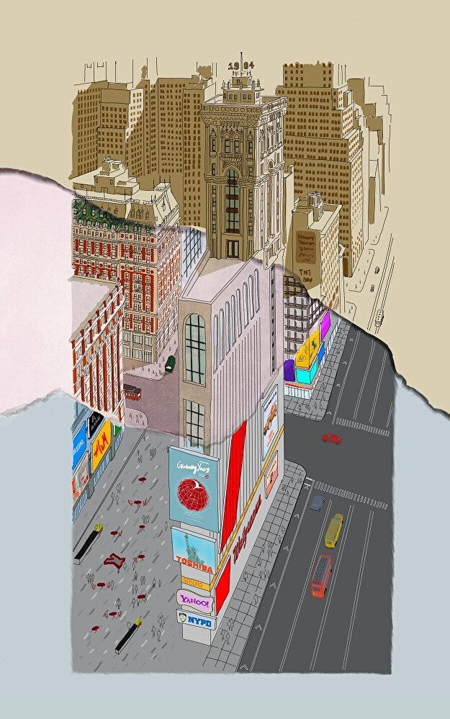 Zaman One Time Square Binası ve çevresi için farklı hızlarda akıyor.