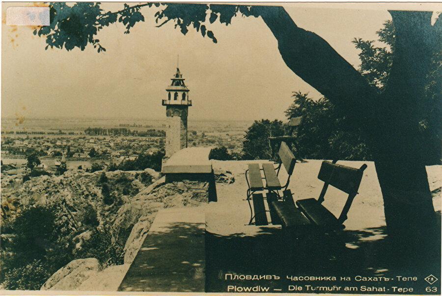 Tarihî saat kulesinin eski bir fotoğrafı.