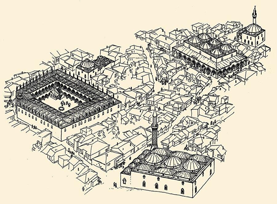 Osmanlı döneminde şehrin tarihî dokusu. Machiel Kiel'in çizimiyle.