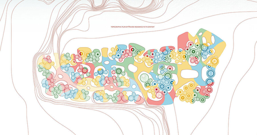 Projede kullanılan renkler, peyzaj tasarımında da devam ettiriliyor.