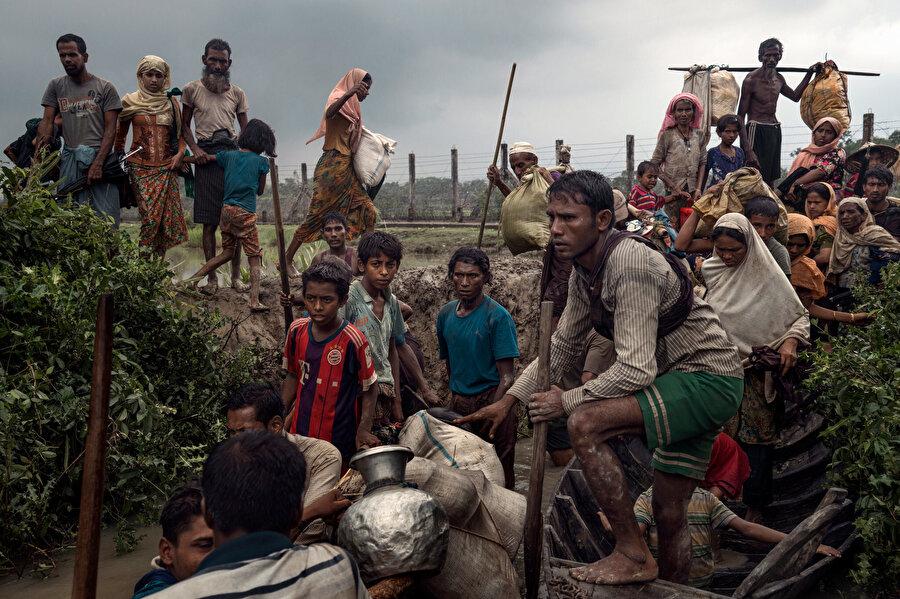 Bangladeş'e sığınan Arakanlı Müslümanlar.