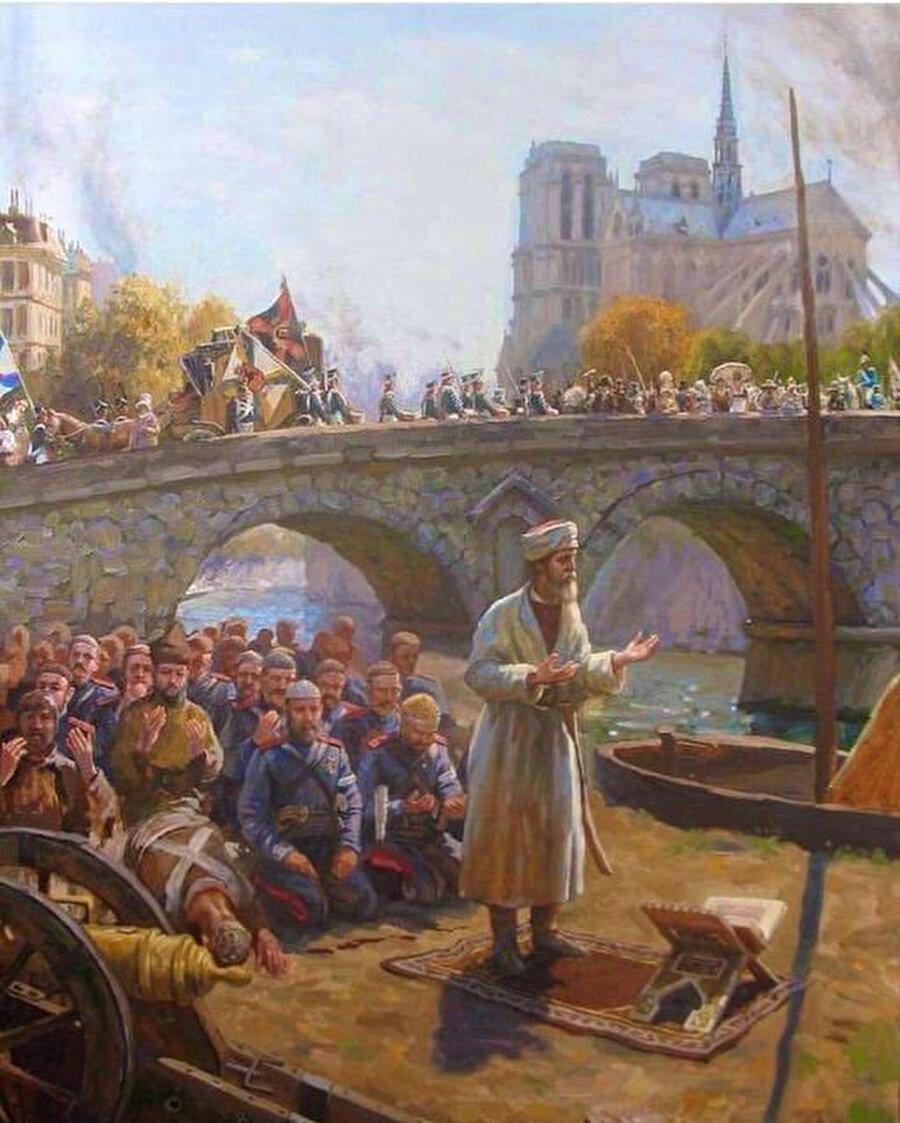 Paris'te namaza duran Tatarlar ve Başkurtlar (1812) Sanatçı: İldar Akcigitov.