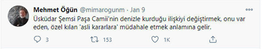 Mimar Mehmet Öğün'ün tweeti.