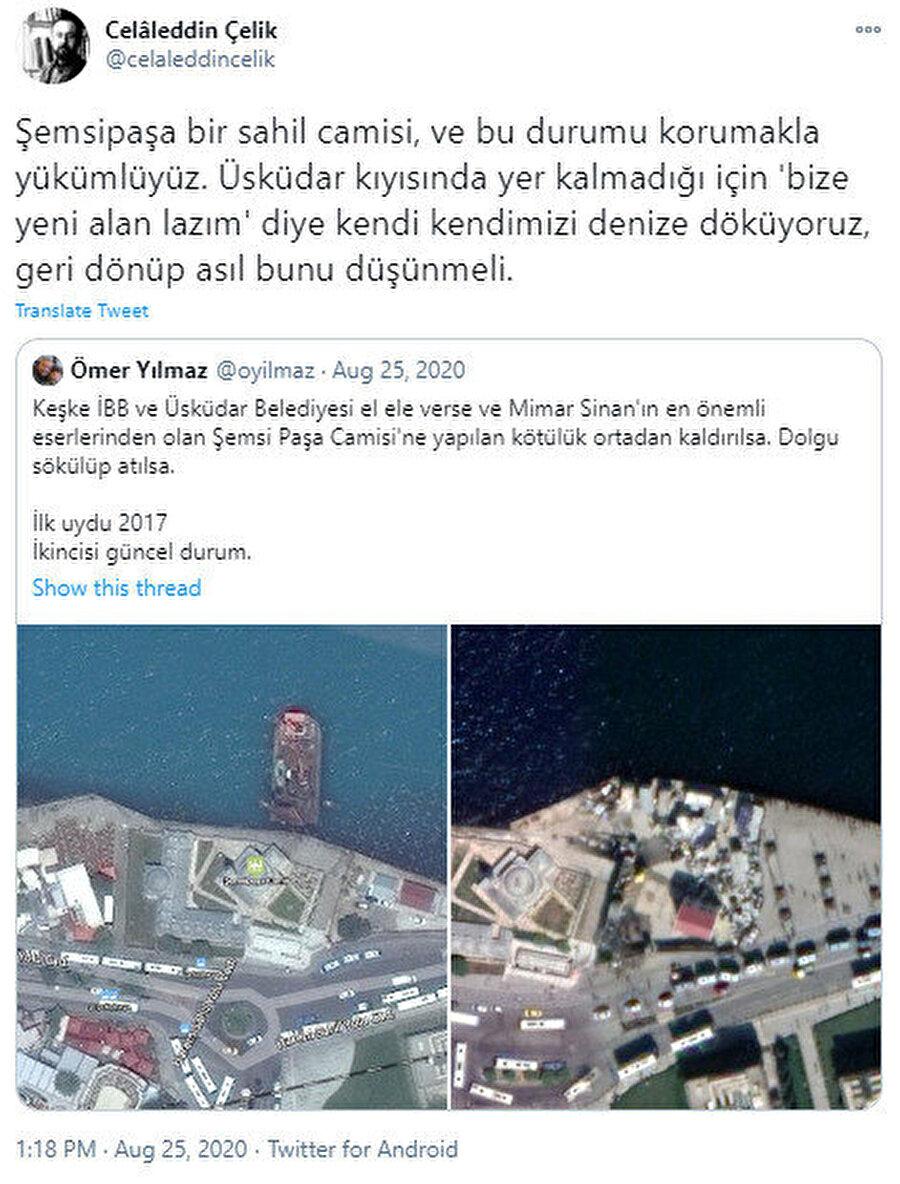 Mimar Celaleddin Çelik'in tweeti.
