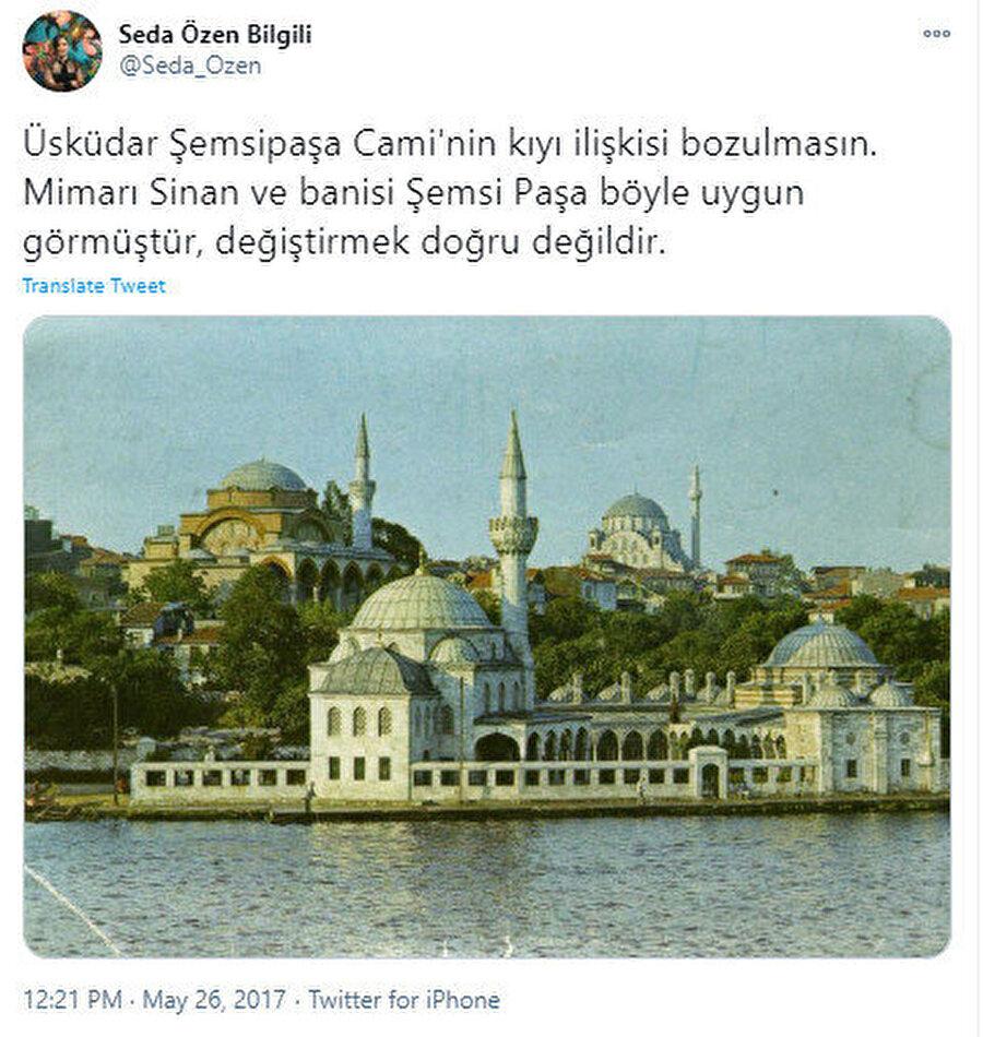 Y. Mimar, Restoratör Seda Özen Bilgili'nin tweeti.
