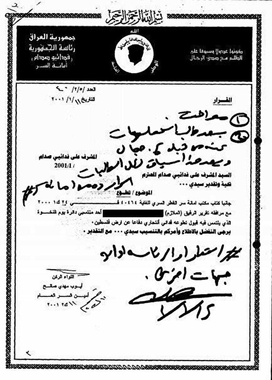 Irak Baası'nın paramiliter örgütü olan 'Saddam'ın Fedaileri' merkezinden gönderilen bu belge, intihar saldırısı için gönüllü olunmayla alakalı bilgiler içerir. Antetli kağıtta 'Saddam'ın Fedaileri'nin meşhur logosu..