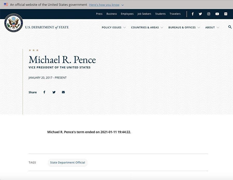 Pence'nin görev süresinin dolacağını gösteren paylaşım