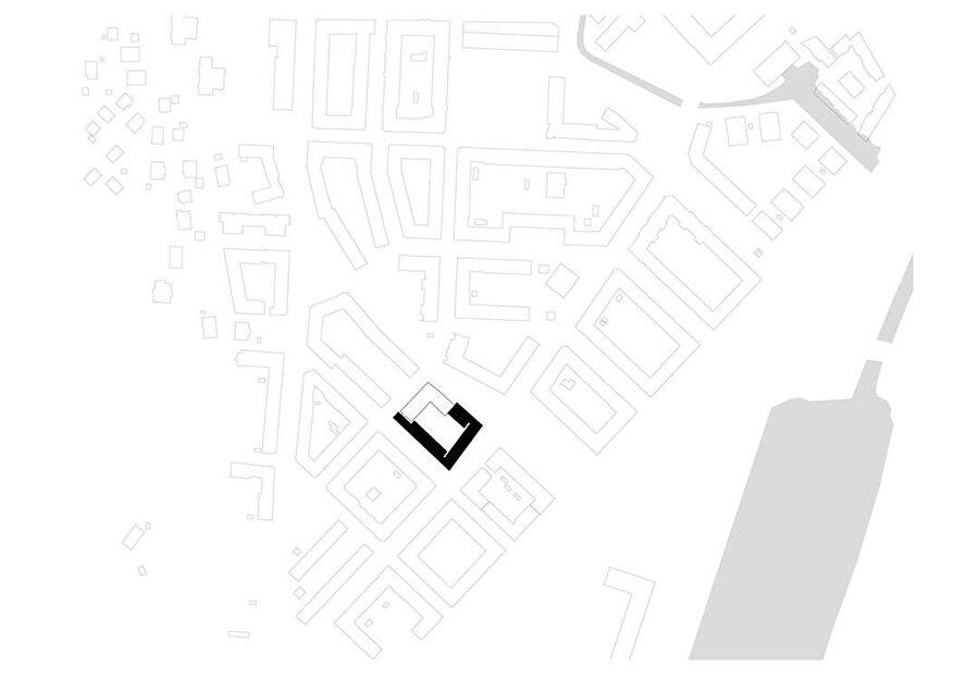 Projenin şehir dokusu içerisindeki yerleşim planı.