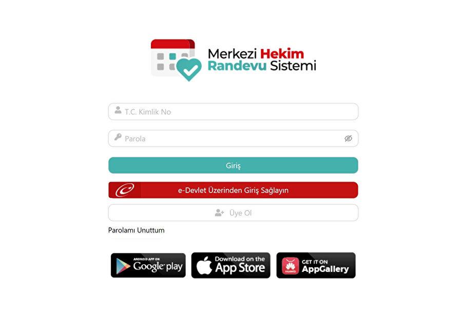 MHRS randevu sistemi giriş ekranı