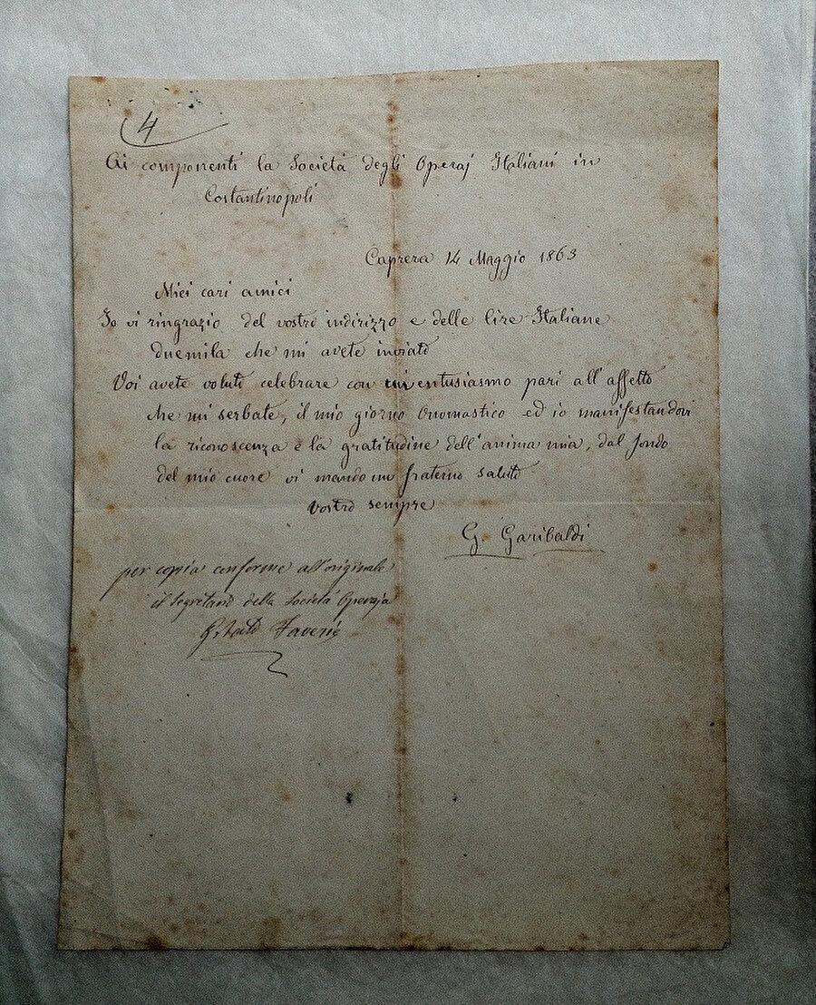 Arşivdeki Garibaldi mektubu.
