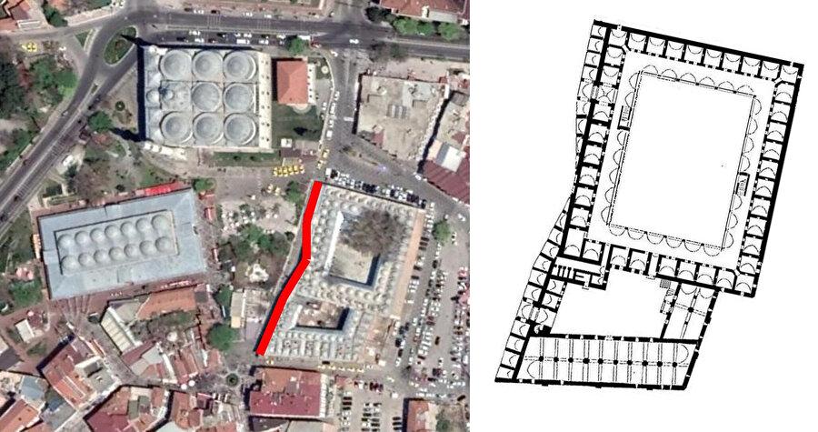 Edirne Bedesteni hava fotoğrafı (soldaki görsel). Edirne Rüstem Paşa Bedesteni, Mimar Sinan (A. Kuran) (sağdaki görsel).