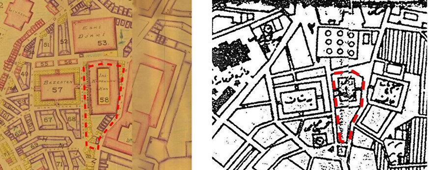 Edirne Pervititch Haritası (soldaki görsel). 1918 tarihli haritalarda, Rüstem Paşa Hanı'ndan önce yapılan ve halihazırda yok olan iki kapılı hanı gösteren haritalar (sağdaki görsel).