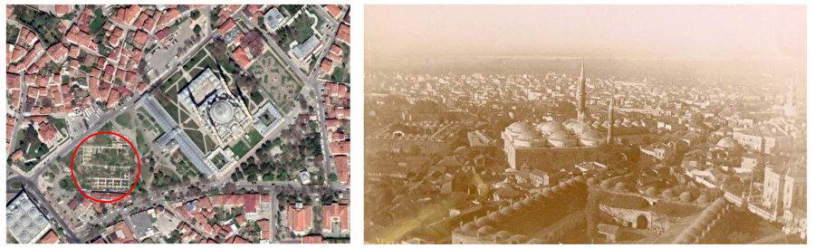 Hava fotoğrafında kazı sonrası temelleri çıkarılan Yemiş Kapanı 2019 (soldaki görsel). Eski fotoğraflarda Yemiş Kapanı (sağdaki görsel).