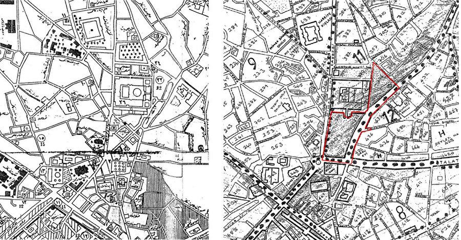 1918 tarihli Edirne Haritası (soldaki görsel). Eski Edirne imar planı, Mimar Senem Arı (sağdaki görsel).